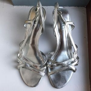 Silver Strappy Kitty Heels